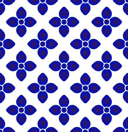 ceramic blue and white simple art decor, Chinaware design, blue flower pattern, porcelain background, vector illustration Illustration