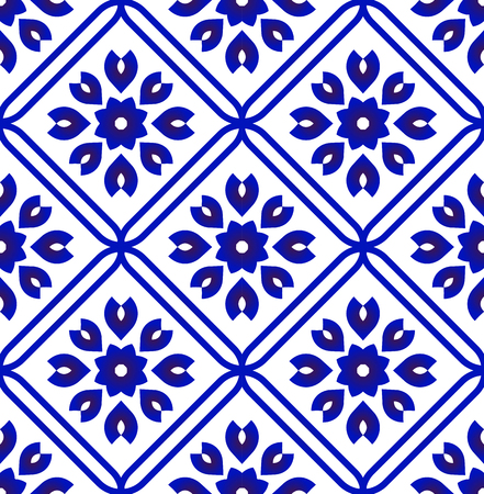 tile pattern, ceramic flower blue and white seamless background, Chinese porcelain indigo backdrop decor vector illustration
