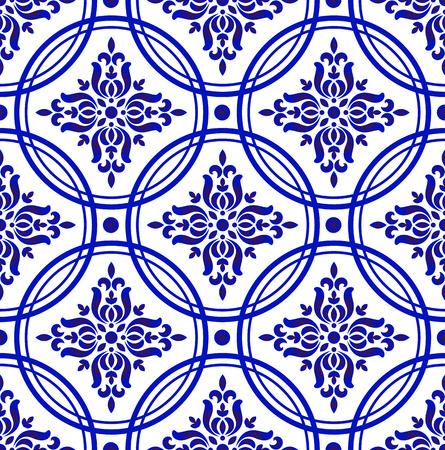 Patrón de damasco floral decorativo, diseño de fondo chino de porcelana, ilustración de vector de decoración de papel tapiz real azul y blanco