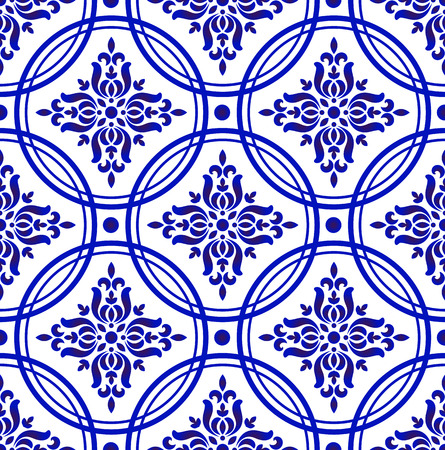 decorative floral damask pattern, porcelain Chinese background design, blue and white royal wallpaper decor vector illustration