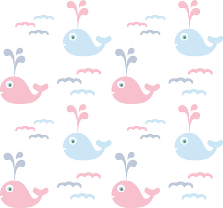 colorful baby background, cute seamless pastel pattern with whales cartoon, vector illustration