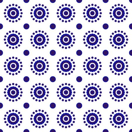 Beautiful batik patterns Malaysia and India style, porcelain indigo seamless modern background, blue and white wallpaper ceramic decor vector illustration