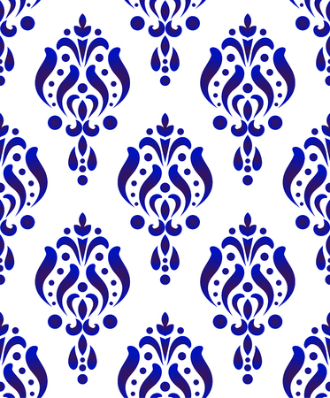 seamless damask pattern, blue and white wallpaper classic India style of baroque, porcelain floral decorative background for design, texture, wall, fabric and silk, vector illustration