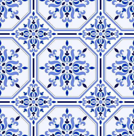 Talavera background, Azulejos Portugal tile pattern, Turkish ornament, Moroccan mosaic, Spanish porcelain, Ceramic tableware, folk print, Spanish pottery, Mediterranean seamless wallpaper decor vector Illustration