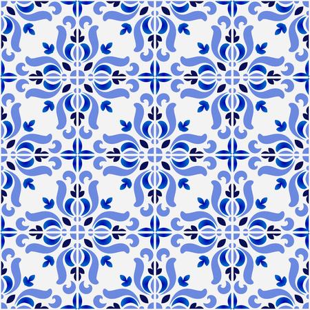 tegelpatroon, kleurrijke decoratieve bloemen naadloze achtergrond, mooie keramische behang decor vectorillustratie