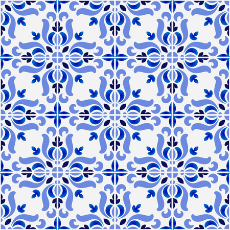 tile pattern, colorful decorative floral seamless background, beautiful ceramic wallpaper decor vector illustration