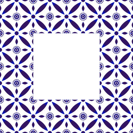 square pattern with navy blue flowers - invitation, greetings card, porcelain indigo decorative art frame, beautiful ceramic ornament border, indigo batik frames, vector illustration