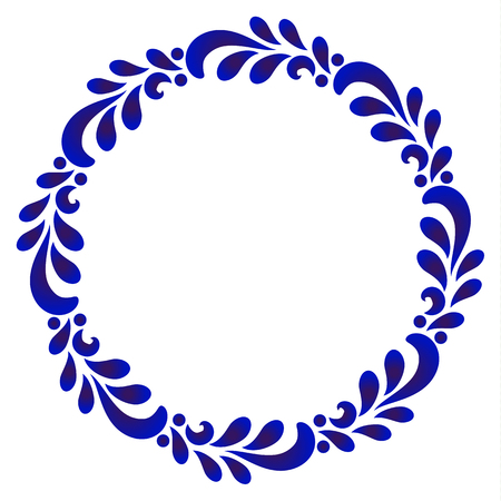 blue ornamental round frame with leave, Decorative leaves circle vector. Abstract floral ornament border, porcelain pattern design. China blue and white leaf decor