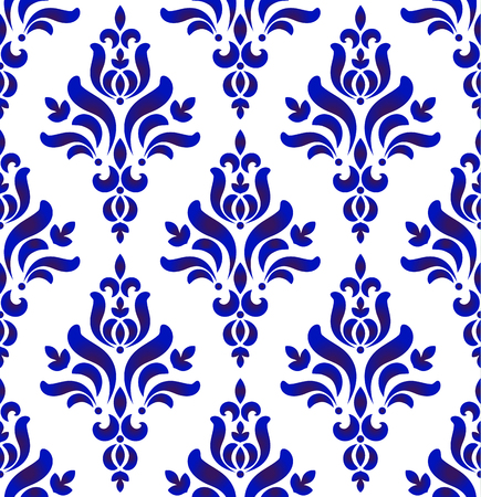 Floral ornament on watercolor backdrop damask and baroque style, blue and white ceramic tile pattern seamless vector illustration, cute porcelain background design Ilustração