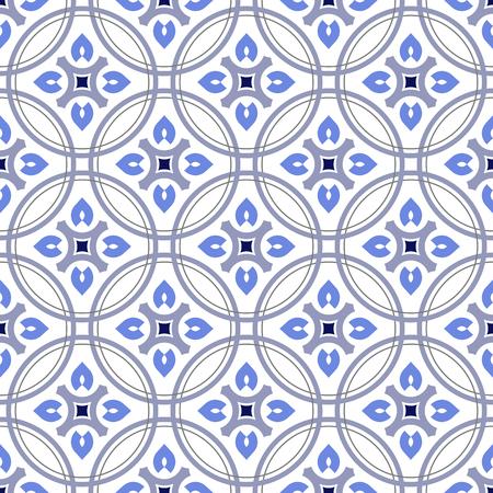 cute tile pattern, colorful decorative floral seamless background, beautiful ceramic wallpaper decor vector illustration Illustration