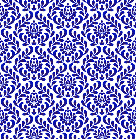 seamless damask pattern, blue and white wallpaper classic style of baroque, porcelain floral decorative background for design, texture, wall, fabric and silk, vector illustration