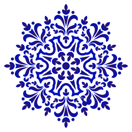 floral round pattern, Circular decorative ceramic ornament, blue and white Mandala, porcelain background design, pottery flower decor vector illustration