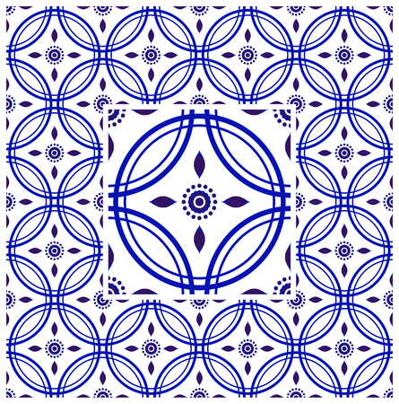 tile pattern, Porcelain decorative carpet background, blue and white floral decor vector illustration, Big ceramic element in center is frame, beautiful ceiling backdrop Indian and Malaysia style