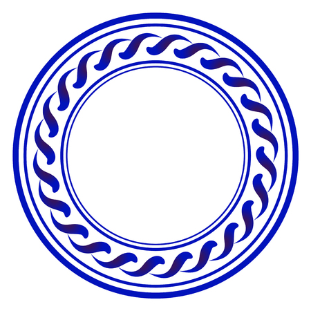 Decorative art frame, Abstract ceramic modern round design, porcelain template cycle decor, China blue and white border, vector illustration