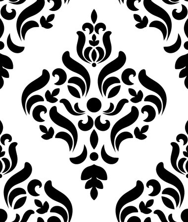 floral seamless damask pattern, decorative royal wallpaper decor, luxury Victorian ornament, black and white baroque background, vector illustration