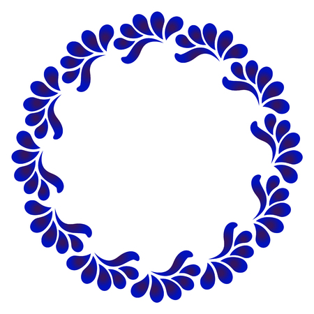 blue ornamental round frame, Decorative leaves circle vector. Abstract floral ornament border, porcelain pattern design. China blue and white leaf decor Illustration