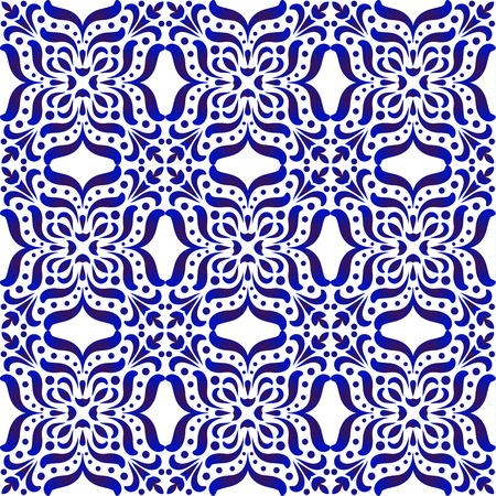porcelain decorative pattern, Abstract floral wallpaper decor baroque and damask style, seamless blue and white ceramic royal background for design texture, silk, floor and wall, vector illustration