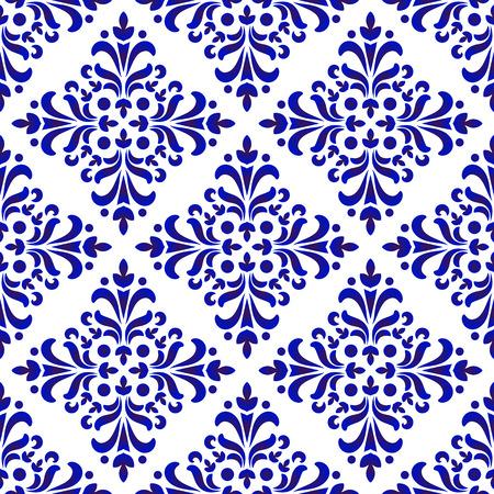 decorative floral damask pattern, porcelain baroque background design, blue and white wallpaper, ceramic tiled decor, vector illustration