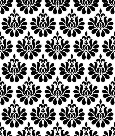 vintage damask pattern, baroque black and white wallpaper decor, beautiful batik floral seamless background, vector illustration