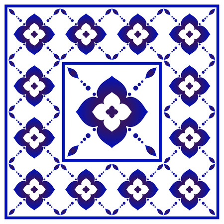Blue and white floral pattern, Chinese and Japanese porcelain decorative, ceramic seamless background, ceiling design, Big flower element in center is frame, beautiful tile design, vector illustration