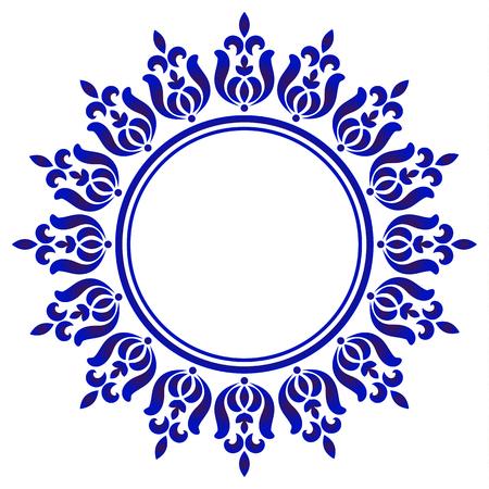 rond ornemental bleu, cadre d'art de cercle décoratif, bordure d'ornement floral abstrait, conception de modèle de porcelaine, décor d'élément bleu et blanc de Chine, illustration vectorielle Vecteurs