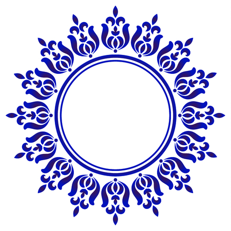 tondo ornamentale blu, cornice artistica circolare decorativa, bordo ornamento floreale astratto, design con motivo in porcellana, decorazione elemento blu e bianco cinese, illustrazione vettoriale vector Vettoriali