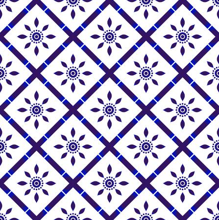 porcelain tile pattern, blue and white decorative floral seamless background, beautiful ceramic wallpaper decor vector illustration