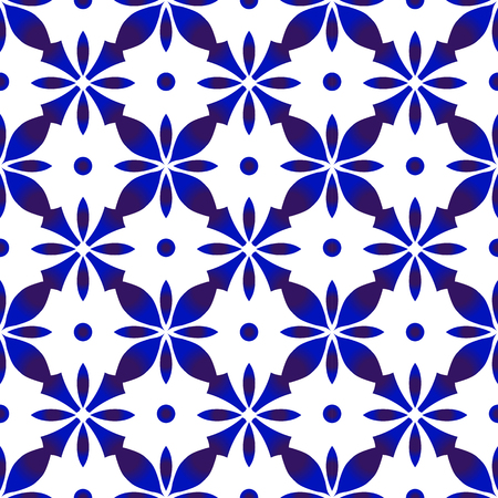 abstract flower tile pattern, Porcelain decorative background Mexican design, indigo wallpaper ceramic modern style, blue and white seamless tribal decor vector illustration