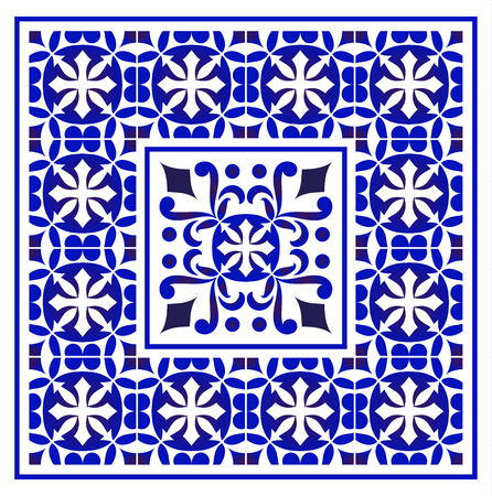 tile pattern, Porcelain decorative carpet background, blue and white floral decor vector illustration, Big ceramic element in center is frame, beautiful ceiling backdrop damask and baroque style