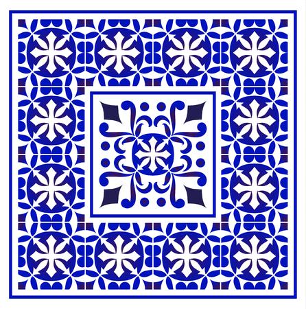 tile pattern, Porcelain decorative carpet background, blue and white floral decor vector illustration, Big ceramic element in center is frame, beautiful ceiling backdrop damask and baroque style Stock fotó - 123715620