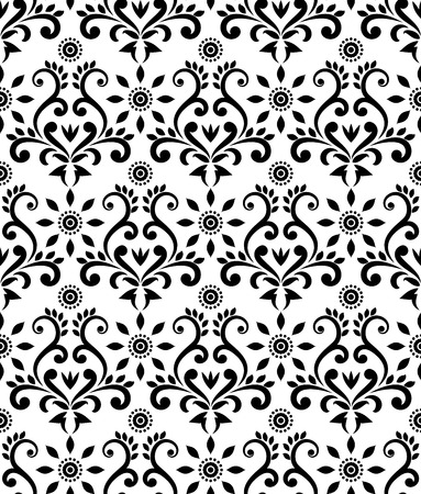 vintage damask pattern, baroque black and white wallpaper decor, beautiful batik floral seamless background, vector illustration