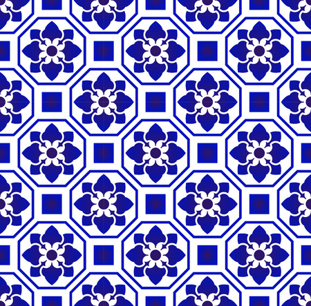 tile pattern, Porcelain background, blue and white  Portuguese vintage flower ornament, Mosaic tiled texture element in center frame. Azulejo, mexican talavera, spanish ceramic, moroccan motifs