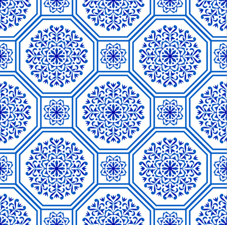 dekoracyjny wzór płytki sześciokątnej patchwork portugalski styl marokański i motyw, luksusowy orientalny niebieski i biały bezszwowy nowoczesny wzór, tło ceramiczne, ilustracja wektorowa geometrycznej tapety kwiatowej