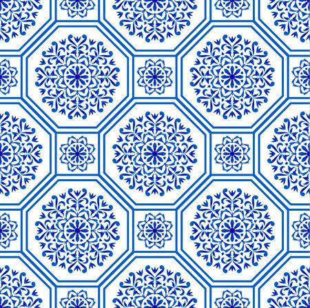dekoratives Hexagon-Fliesen-Design Patchwork portugiesischer marokkanischer und Motivstil, luxuriöses orientalisches blaues und weißes nahtloses modernes Muster, keramischer Hintergrund, geometrische Blumentapetenvektorillustration