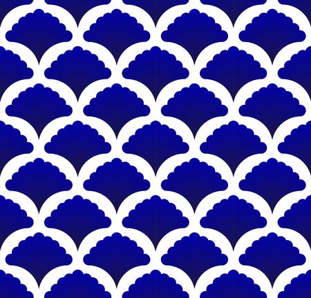 nahtloses thailändisches Muster, abstrakter blauer und weißer moderner Formhintergrund für Design, Porzellan, Porzellan, Keramikfliesen, Decke, Textur, Wand, Papierseide und Stoff, Vektorillustration