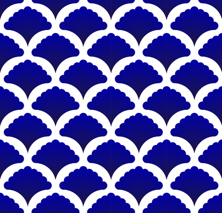 seamless Thai pattern, Abstract blue and white modern shape background for design, porcelain, chinaware, ceramic tile, ceiling, texture, wall, paper silk and fabric, vector illustration  イラスト・ベクター素材