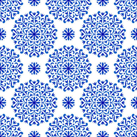 decorative floral blue pattern, blue and white mandala background, beautiful porcelain damask wallpaper, ceramic decor vector illustration