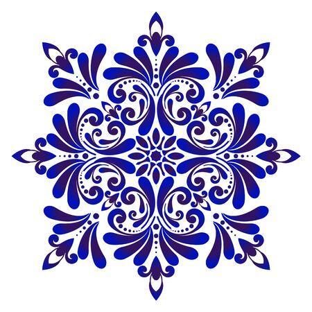 floral round pattern, Circular decorative ceramic ornament, blue and white Mandala, porcelain background design, pottery flower decor vector illustration Vettoriali