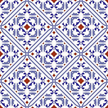 tegelpatroon, keramisch betegeld ontwerp met kleurrijke patchwork Turkse stijl, decoratief bloemen Portugal ornament, Marokkaanse achtergrond, aardewerk folk print, Spaans servies, naadloze Mexicaanse talavera