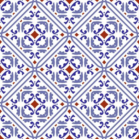 tile pattern, ceramic tiled design with colorful patchwork Turkish style, decorative floral Portugal ornament, Moroccan background, pottery folk print, Spanish tableware, seamless Mexican talavera