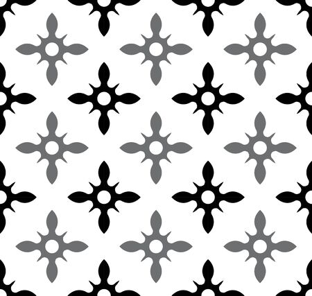 cute tile pattern, seamless modern background for design, wall, paper, tiles, fabric, texture, black and gray ceramic wallpaper decor, floral Portugal ornament, Mexican talavera, vintage tiled vector Vettoriali