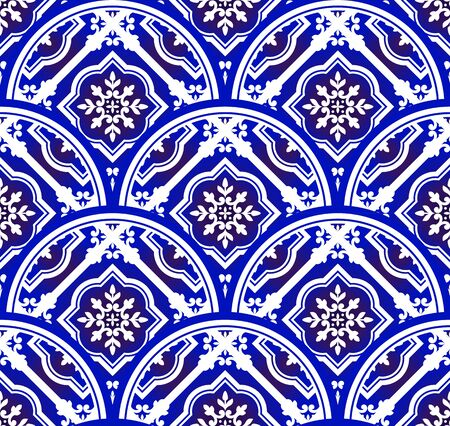 blue and white floral pattern with scale patchwork style, abstract decorative indigo mandala for your design element, ceramic porcelain damask wallpaper seamless decor, tiled, wall, texture, vector Vettoriali