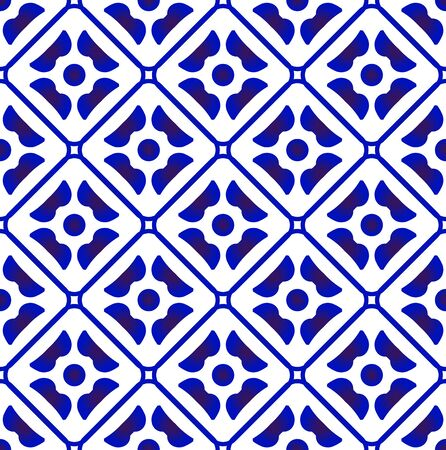 ceramic tile pattern, Seamless porcelain decor, Chinaware background, blue and white floral backdrop for design floor, wall, texture, fabric, paper, tiled, modern indigo wallpaper, vector illustration