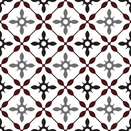 cute tile pattern, colorful seamless modern background, brown and gray ceramic wallpaper decor, Portugal ornament, Moroccan mosaic, pottery folk print, Spanish tableware, vintage tiled design, vector Vettoriali