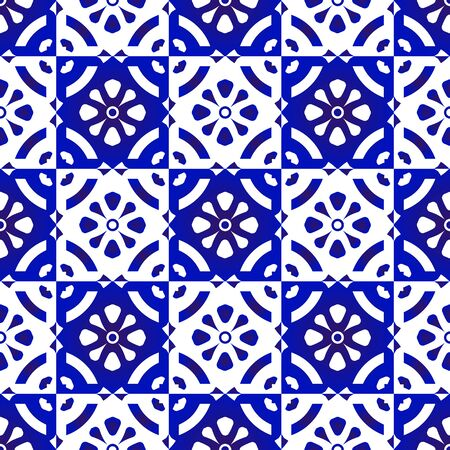 ceramic tile pattern, porcelain seamless modern background, blue and white indigo wallpaper, textile ornament, Moroccan mosaic, pottery folk print, Spanish tableware, vintage tiles design, vector Vettoriali