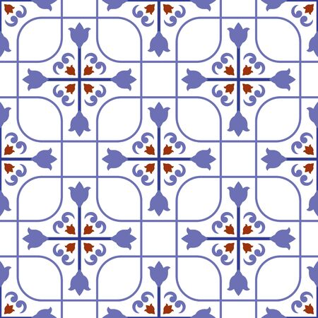 ceramic tile pattern, colorful seamless modern background, blue and white decorative wallpaper decor, Portugal ornament, Moroccan mosaic, pottery folk print, Spanish tableware, vintage tiled design