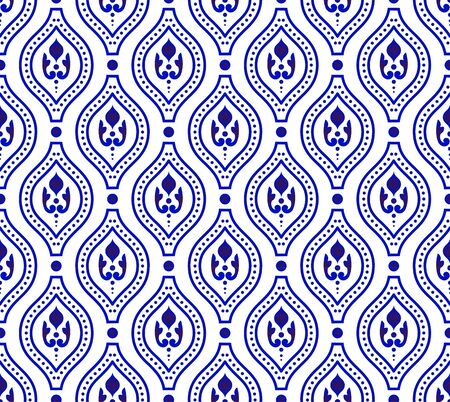Cute blue and white pattern, Seamless porcelain indigo, Beautiful ceramic background, floral backdrop for design floor, texture, fabric, paper, Islamic wallpaper decor vector illustration