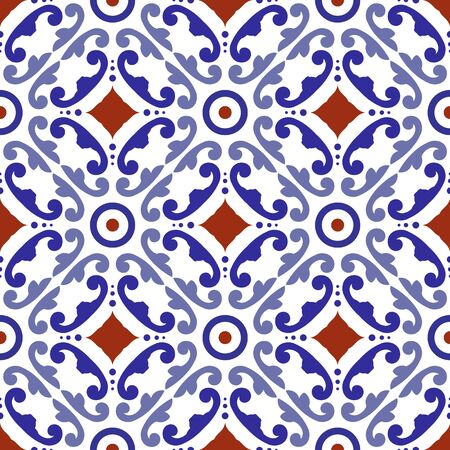 ceramic tile pattern, tiled design with colorful patchwork Turkish style, decorative floral Portugal ornament, Moroccan background, pottery folk print, Spanish tableware, Chinaware seamless decor Vettoriali
