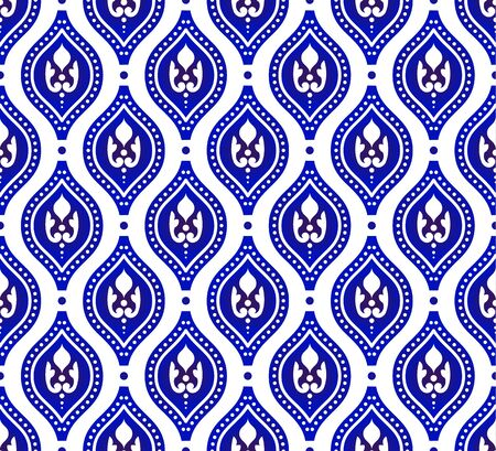 blue and white royal pattern, porcelain seamless background Islamic classic style, indigo vintage elements for design batik, floor, texture, fabric, paper, Abstract Orient wallpaper decor vector