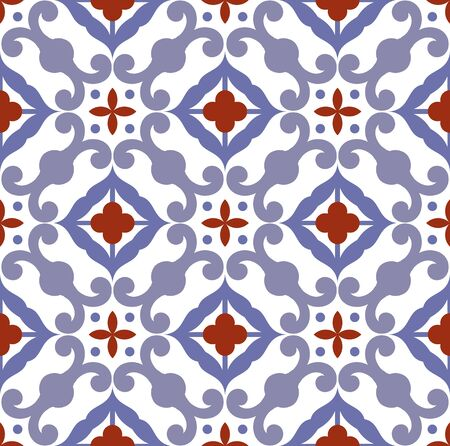 ceramic tile pattern, tiled design with colorful patchwork Turkish style, decorative floral Portugal ornament, Moroccan background, pottery folk print, Spanish tableware, seamless Mexican talavera Vettoriali